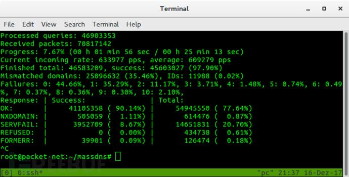 MassDNS:一款功能强大的高性能DNS子域名查询枚举侦察工具